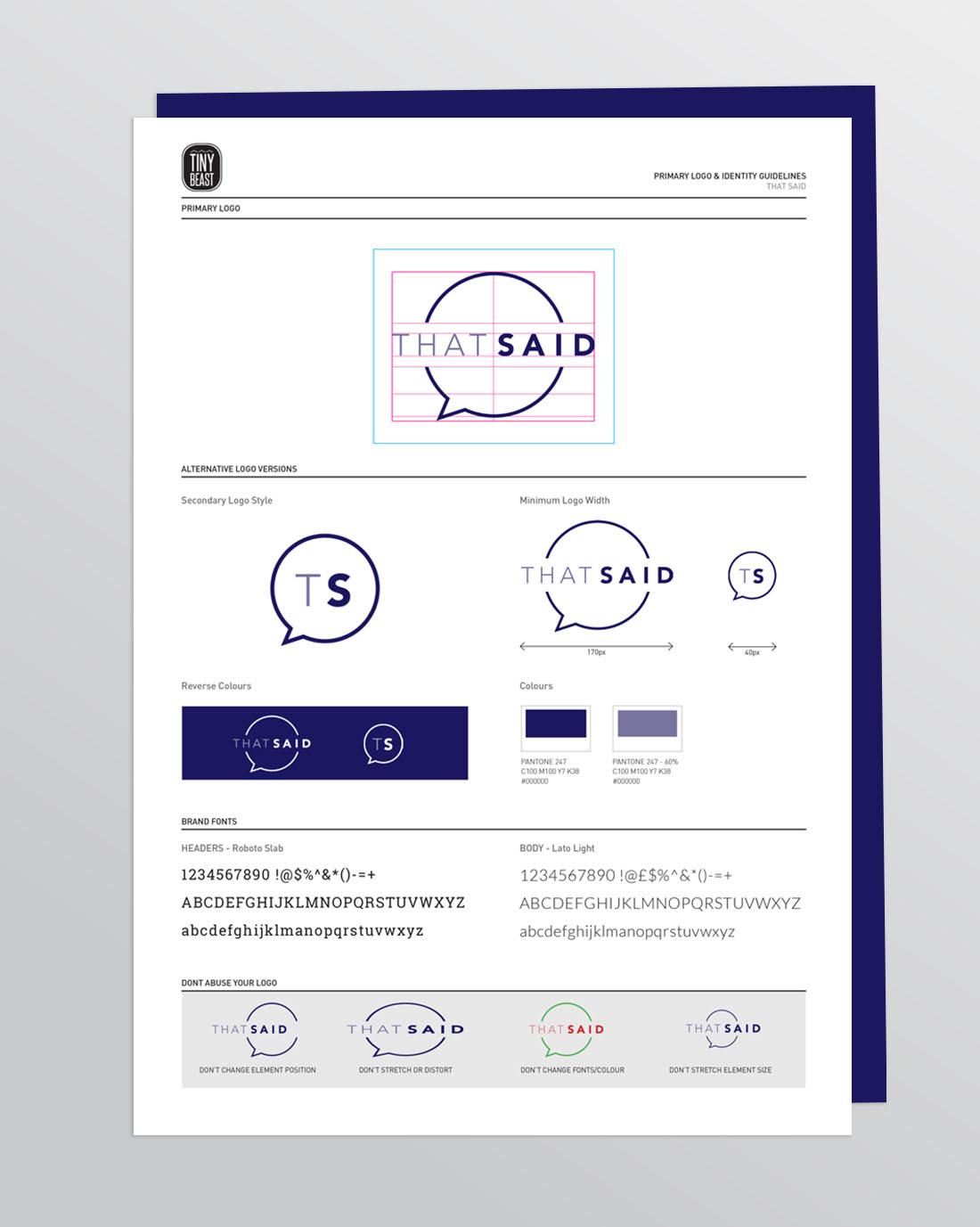 TinyBeastDesign-ThatSaid-BrandGuidelines